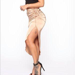 FashionNova Gold Satin Skirt